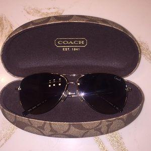 New Coach small aviator sunglasses brown lense